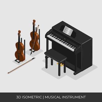 Set di strumenti musicali isometrici 3d, pianoforte e violino.