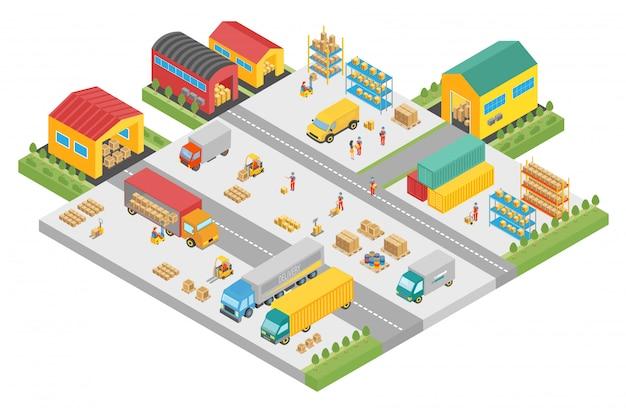 Processo isometrico 3d della grande azienda di magazzino. piazza degli edifici esterni del magazzino, attività di consegna, illustrazione di stoccaggio del carico.