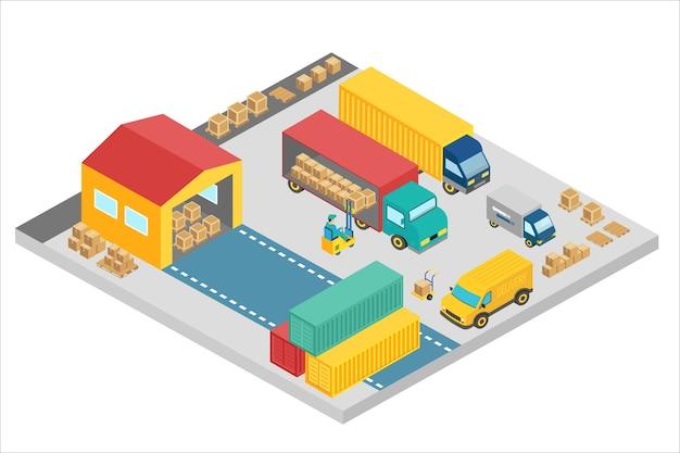 Processo isometrico 3d della società di magazzino. edificio esterno del magazzino quadrato con camion e container. attività di consegna, deposito merci.