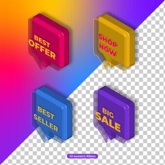Set di icone di promozione e marketing isometrica 3d