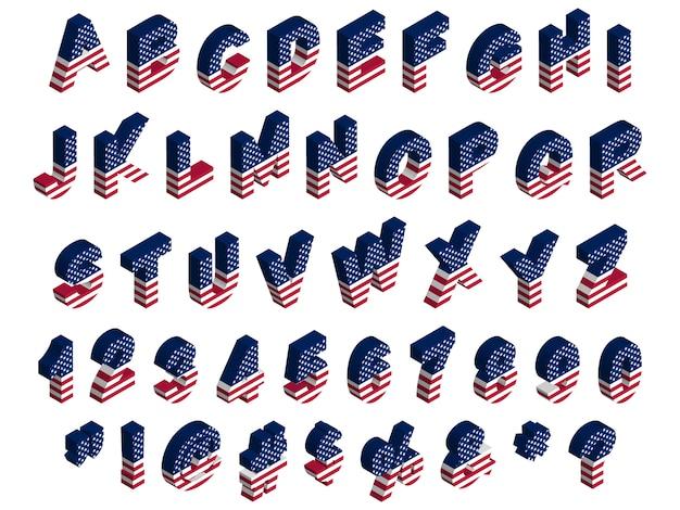 Fonte, lettere, numeri, simboli e segni isometrici della bandiera degli sua 3d, clipart di riserva dell'illustrazione