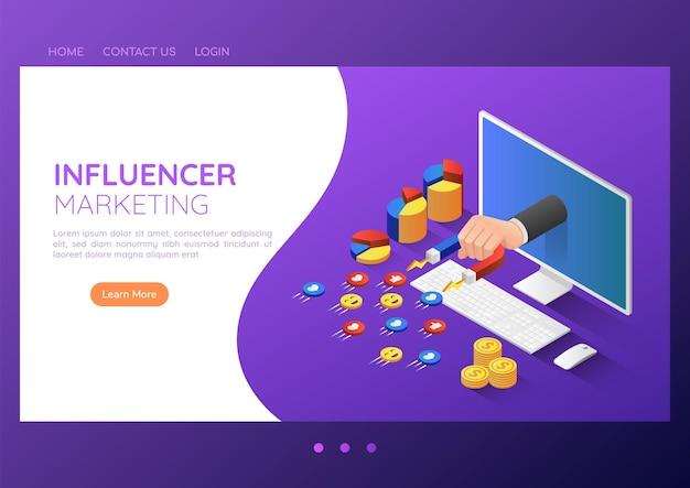 Mano isometrica dell'uomo d'affari dell'insegna di web 3d con il magnete che attira l'icona dei social media. concetto di pagina di destinazione di marketing dell'influencer dei social media.