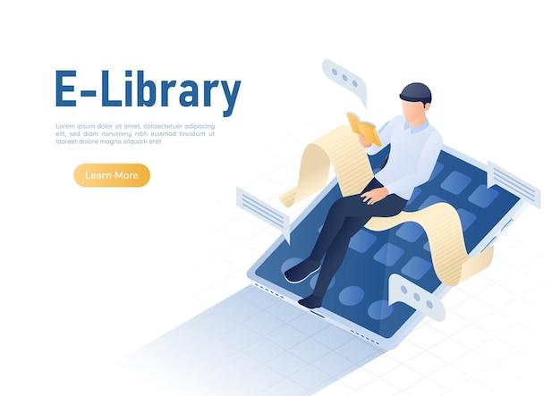 3d isometrica web banner uomo d'affari libro di lettura sulla tavoletta digitale. biblioteca online e concetto di e-book.