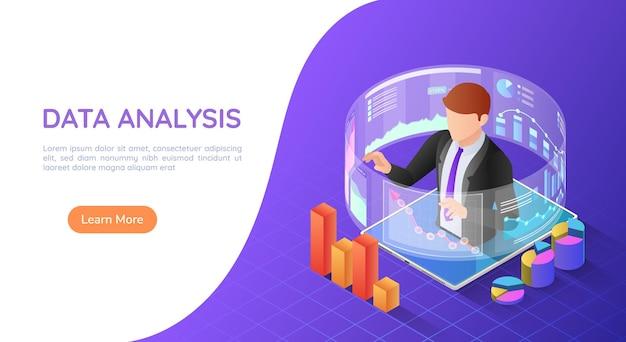 Uomo d'affari isometrico dell'insegna di web 3d sulla compressa con i rapporti analitici virtuali di affari. concetto di pagina di destinazione dell'analisi dei dati.