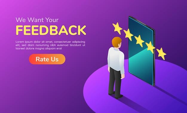 Uomo d'affari isometrico dell'insegna di web 3d con il telefono e feedback a cinque stelle. pagina di destinazione del concetto di soddisfazione del cliente e feedback.