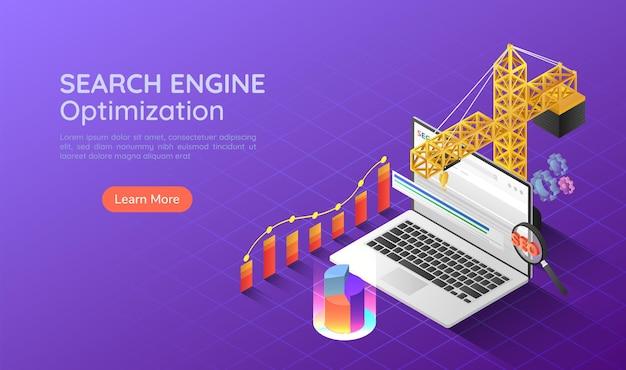 Gru da costruzione 3d isometrica banner web che si solleva e aumenta il posizionamento del sito web in cima al motore di ricerca. ottimizzazione dei motori di ricerca seo landing page concept.