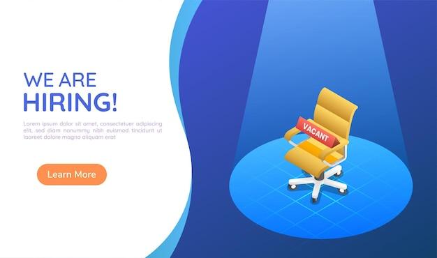 Banner web isometrico 3d sedia da ufficio ergonomica sotto la luce con un segno di posto vacante. concetto di pagina di destinazione di assunzione e reclutamento di affari.
