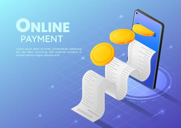 Moneta d'oro dell'insegna web isometrica 3d che entra nello smartphone con la ricevuta. pagamento online e concetto di mobile banking.