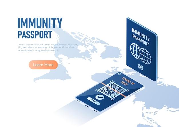 3d isometrico banner web passaporto immunità e smartphone con certificato di vaccinazione digitale per covid-19 mappa del mondo. passaporto di immunità e concetto di certificazione di vaccinazione.