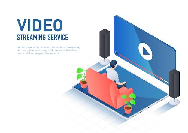 3d isometrica web banner uomo che guarda lo streaming video online su tavoletta digitale. concetto di servizio di streaming video.