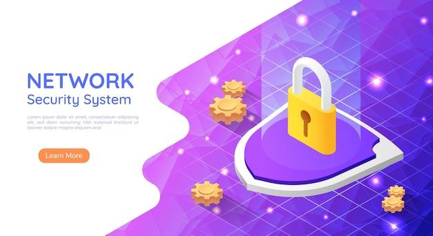 Lucchetto per banner web isometrico 3d con icona a forma di serratura su sfondo di rete astratta. concetto di tecnologia del sistema di sicurezza di rete.