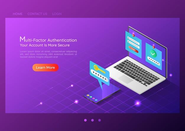 Sistema di verifica in due fasi dell'insegna web isometrica 3d su laptop e smartphone. autenticazione duo e concetto di pagina di destinazione della sicurezza internet.