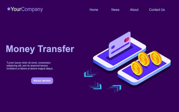 Portafoglio web isometrico 3d e carta di credito collegati e trasferimento di denaro su smartphone. portafoglio elettronico e pagina di destinazione del pagamento mobile.