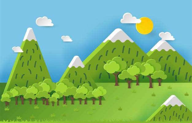 3d landspace concept design arte colorata fatta a mano stile di taglio della carta illustrazione vettoriale eps10