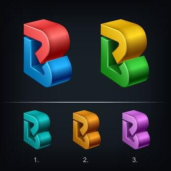 Logo 3d lettera b, tipo di concetto abc come logotipo,