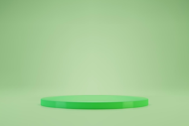 Podio o piedistallo rotondo verde chiaro 3d su sfondo pastello