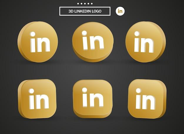 Icona del logo linkedin 3d nel moderno cerchio dorato e quadrato per i loghi delle icone dei social media