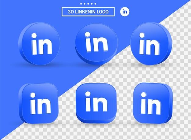 Logo 3d linkedin in stile moderno cerchio e quadrato per i loghi delle icone dei social media