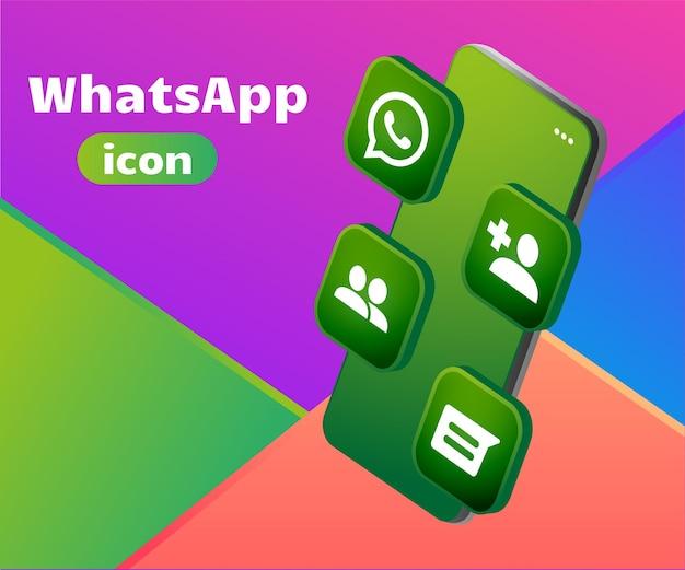 Logo 3d icona whatsapp con smartphone