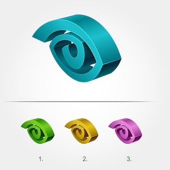 Logotipo 3d sotto forma di un occhio, logo aziendale stilizzato astratto