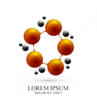 Icona del logotipo 3d dna e molecola. modello logo per medicina, scienza, tecnologia, chimica, biotecnologia.