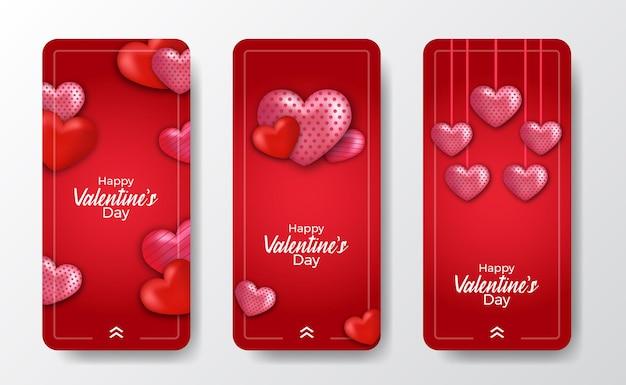 3d amore decorazione a forma di cuore per il modello di storie sui social media di san valentino