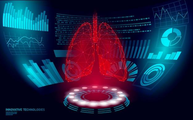 Display dell'interfaccia utente hud di operazione di chirurgia laser virtuale 3d polmoni umani sani poli bassi. tecnologia futura medicina poligonale medicina trattamento delle malattie. illustrazione blu di giorno di tubercolosi del mondo della medicina