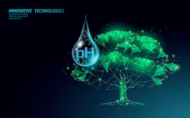 Concetto di irrigazione a ph basso della pianta 3d 3d. fertilizzanti di acidità del suolo orticoltura industriale.