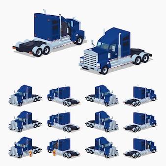 Camion isometrico americano pesante lowpoly 3d Vettore Premium