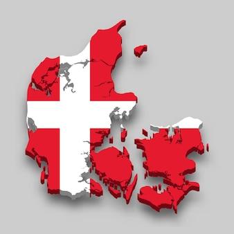 Mappa 3d della danimarca con la bandiera nazionale.