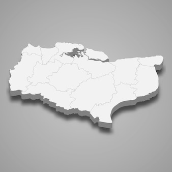 Mappa 3d della contea cerimoniale del kent d'inghilterra