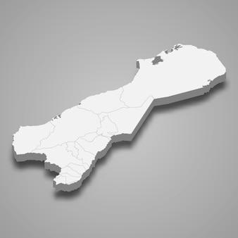 Mappa 3d del dipartimento di la guajira della colombia