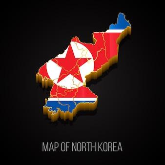 Mappa 3d della corea del nord