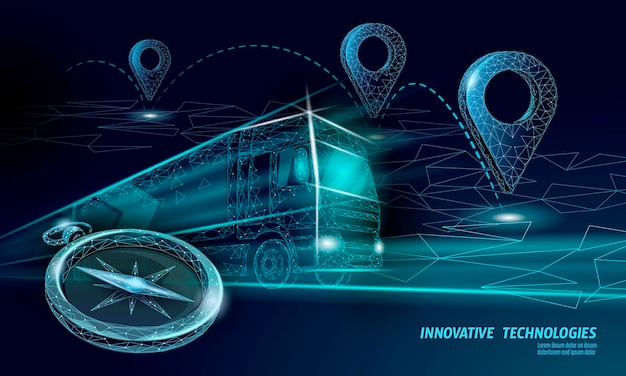 Posizione del punto della mappa 3d. auto camion di consegna poligonale realistica in tutto il mondo. perno di posizione della direzione dello shopping online di spedizione.