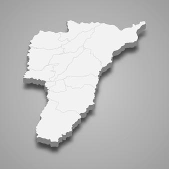 Mappa 3d del dipartimento di quindio della colombia illustrazione