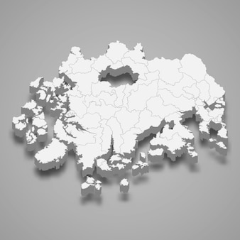 Mappa 3d regione della corea del sud