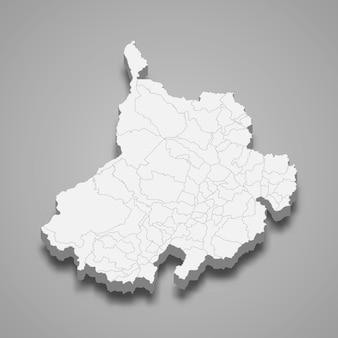 Mappa 3d del dipartimento di santander della colombia illustrazione