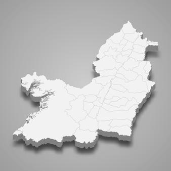 Mappa 3d della valle del cauca dipartimento della colombia illustrazione