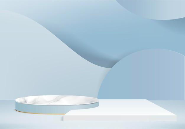 I prodotti di sfondo in pietra di marmo 3d mostrano la scena del podio con piattaforma geometrica. rendering 3d con podio. stand per mostrare prodotti cosmetici. vetrina scenica su piedistallo blue studio