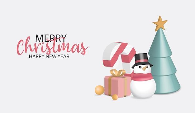 Buon natale 3d e buon anno. scatole regalo in pile realistiche. banner per le vacanze, poster web, volantino, brochure elegante, biglietto di auguri, copertina. sfondo di natale
