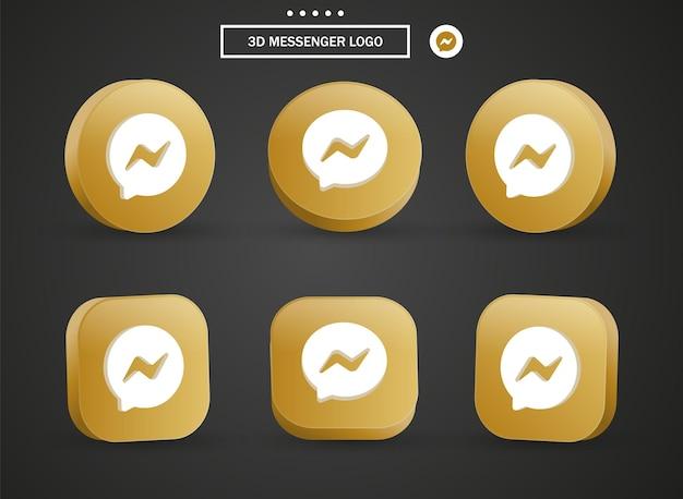 Icona del logo del messaggero 3d nel moderno cerchio dorato e quadrato per i loghi delle icone dei social media