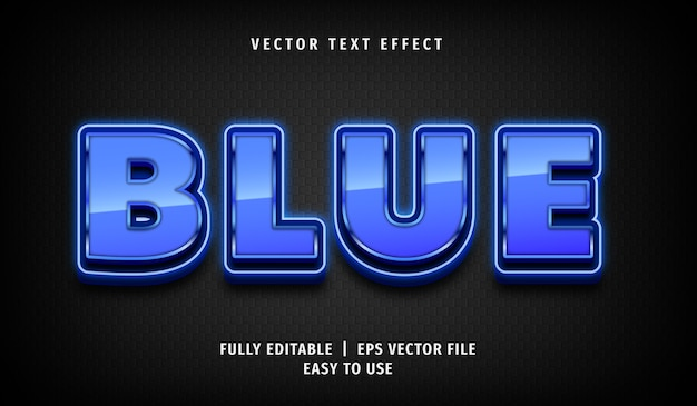 Effetto di testo blu metallizzato 3d, stile di testo modificabile