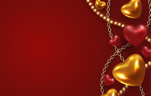 Oro metallico 3d e cuori rossi.