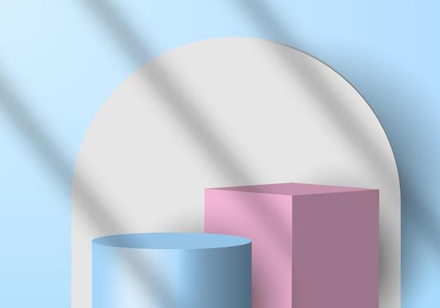 Cilindro blu con scena minimale 3d e cubo rosa, cerchio bianco.