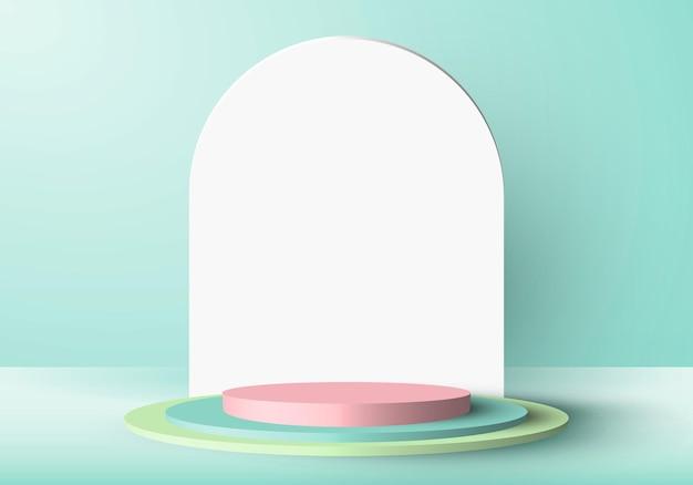Podio del cilindro verde e rosa con scena minimale 3d.