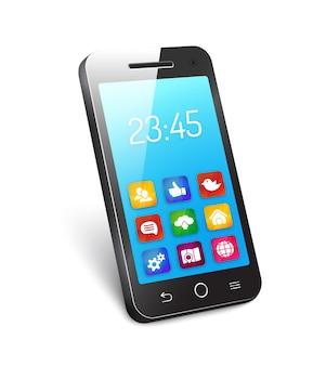 Cellulare o smartphone del telefono mobile 3d con uno schermo blu riflettente che mostra il tempo