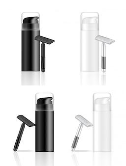 3d mock up realistico bottiglia da barba e rasoio