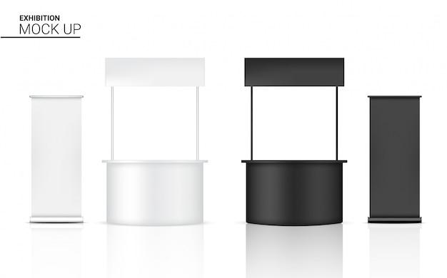 3d mock up realistico chiosco display pop booth per la mostra di promozione del marketing in vendita