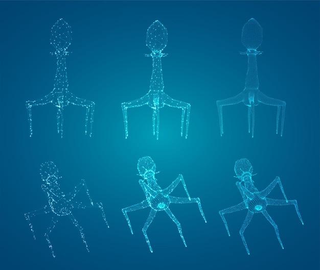 Modello 3d di un batteriofago, un microrganismo artificiale per il trattamento di malattie mortali. futuro della medicina