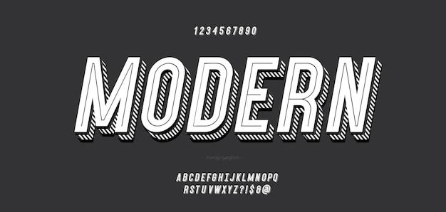 Carattere tipografico grassetto moderno 3d